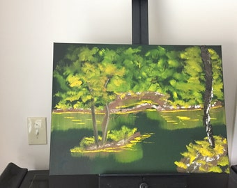 """Original Canvas Painting, Excellent Quality, Affordable Price, Custom & Unique, Made By Me, Scene Name: (Everglade Grove) 18"""" x 24"""" size"""