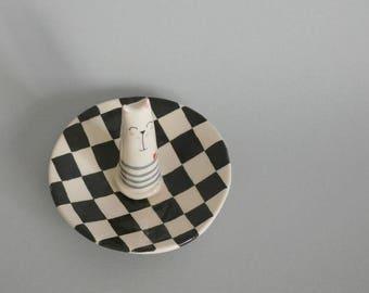 Rings saucer with Kitty, ring holder, ceramic ring holder