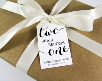 Two shall become One - Wedding Favor Tags - Wedding Favor - Wedding Tags - Custom Tags - Personalized Tags - Party Favors - LARGE