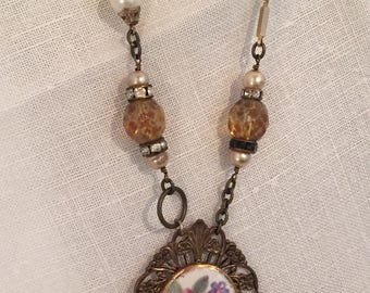 Vintage Brooch, Assemblage Necklace, Antique Jewelry, Upcycled, Repurposed, Steampunk, Boho
