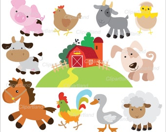 INSTANT Download.  Farm animals clip art. Cf_16. Personal and commercial use.
