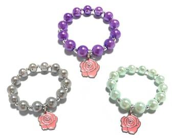 Toddler or Girls Small Beaded Pink Rose Charm Bracelet - Pink and Silver Bracelet - Mint and Pink Flower Bracelet - Floral Bracelet - Spring