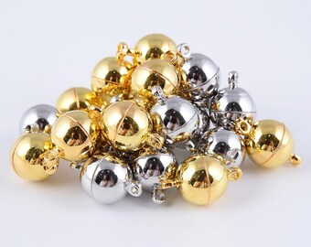 Silver/ Gold Color Plated Strong Magnetic Clasps Round Shape Size 8mm/10mm/12mm. Sale by Bag CLASP-001V-02