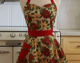Retro Sweetheart Apron Christmas Poinsettia BELLA