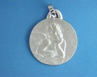 14kt white gold 19mm borderless Raphael angel pendant
