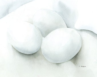 Still Life Painting Three Eggs on Linen For Sale