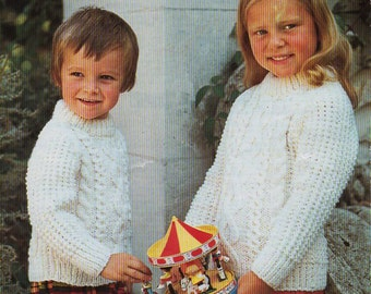 Pattern vintage child size aran sweater pdf file to knit baby childrens aran sweater knitting pattern pdf download childrens cable jumper crew neck 20 32 dt1010fo