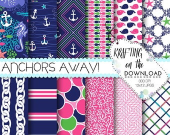 pink and navy nautical digital paper preppy digital papers anchor digital paper cute paper pack navy and pink paper summer digital paper