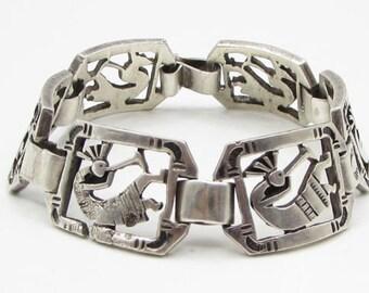 925 sterling silver - navajo native horn blower 20mm bracelet - b1230