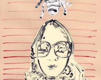 Original La Force Collage Self Portrait with Bee