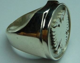 albanian  eagle  ring , sterling silver