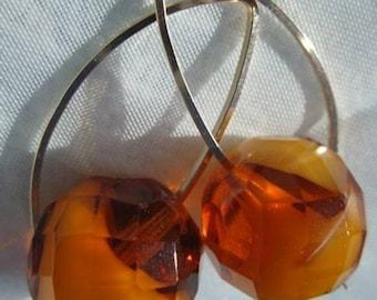 Earrings. CARAMEL CREAM  solid 14k gold filled and caramel glass earrings