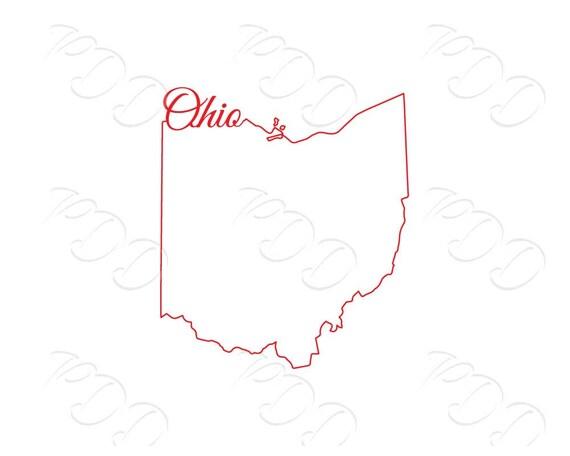 Line Drawing Heart Shape : Digital ohio line map shape design jpg png eps svg