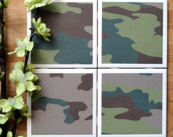 Coasters for Drinks - Coasters Tile - Camouflage Coasters - Handmade Coasters - Coasters - Drink Coasters - Tile Coasters