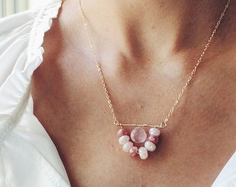 Pink Necklace, Gemstone Necklace, Bridesmaid Necklace, Moonstone Necklace