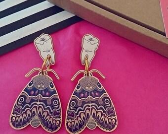 Moth Earrings. Teeth Earrings. Moth Jewellery. Molar Teeth. Teeth Jewellery. Laser Cut Jewellery. Insect Jewellery. Lily Moth