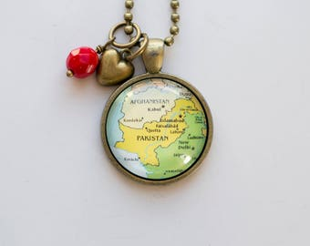 Map of Pakistan necklace - Map Pendant Necklace - Custom Jewelry - Travel Necklace Adoption Jewelry Pakistan India South Asia Teacher Gift