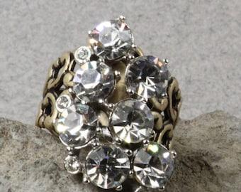 Handmade Vintage Repurposed Earring Rhinestone Bling Ring Oscarcrow