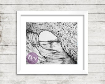 Wave Drawing, Pen and Ink, Giclee Print, Ocean Artwork, Black and White, Beach Home Decor, Surf Art,  Fine Art Prints, Modern Art