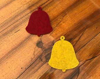 10 cm filz glocke weihnachtsbaum designfilz 100% merino 5 mm handgestanzt kirsch rot senf gelb christmas ornaments wool felt bell coaster