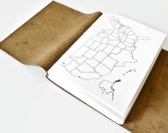 Coloring Map Journal, Places I've Been Map Journal, Travel Map Notebook, Travel Map USA, Adventure Book, Personalized Travel Journal Choc4x6