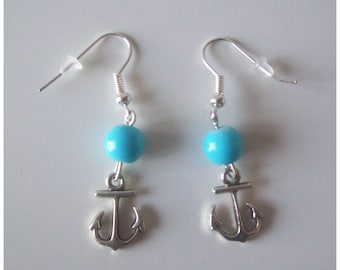 Blue Pearl and anchor earrings