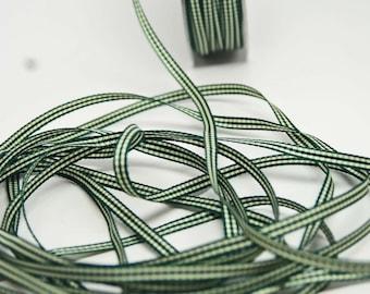 Solid Check Ribbon -- 3/16 inch -- Dark Green Cream