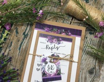 Scottish wedding Purple tartan wedding invitations thistles and roses,  Highland wedding, Castle wedding, UK, wedding invites, uk