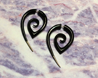 Fake Gauge, Horn Earrings - Girl With The Dragon Tattoo - Silver Tipped Tribal Curls - Eco-Friendly, Handmade, Cheaters, Split, Tribal - H7