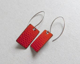 Red Enamel Earrings with Ombre Polka Dots - Sterling Silver - Modern Jewelry for Everyday Wear - Gift for Girlfriend