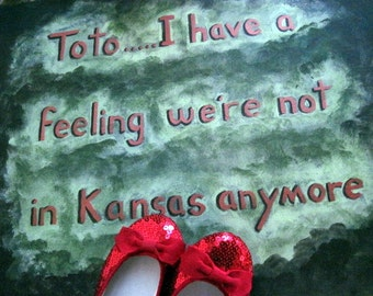 Wizard of Oz....Toto.....I Have a Feeling We're Not in Kansas Anymore Red Green 16x20 Acrylic Oil Mod Kitschy One of a Kind