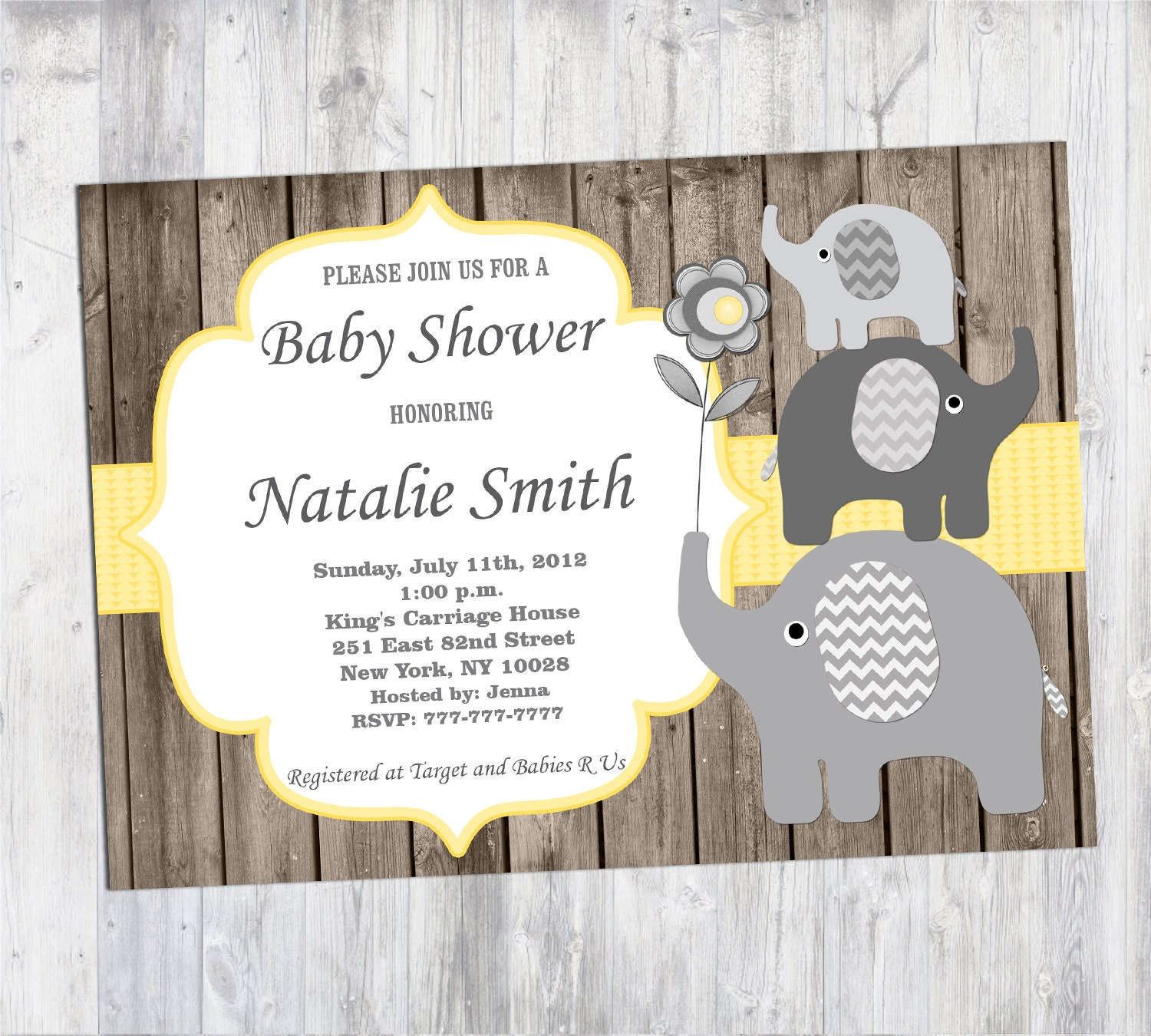 Baby Shower Invitation Boy Rustic Elephant Baby Shower Invites