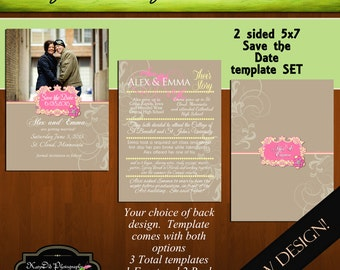 INSTANT Download Save the Date Template/PSD file PS I Love You Pink and Yellow 5x7