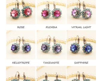 Turquoise Drop Earrings Aqua Blue Swarovski Crystal Rhinestones Malibu Blue Bridesmaids Gift Turquoise Halo,Choose Your Color,Silver,SE96