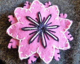 Doucle Pink-Purple felt flower brooch