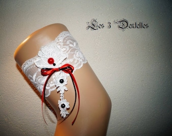 Red and white lace wedding garter * lace * custom