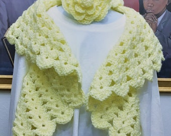 Ready to Ship! Yellow or Pink Crochet Shrug with matching flower Headband fits ages 4-6 years old