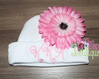Monogram Baby Beanie Hat with Flower
