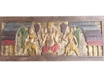 Handmade Eclectic Wood headboard Vintage Hand Carved Sitting Ganapati Bohemian Decor FREE SHIP VALENTINES Gift