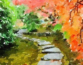 Butchart Japanese Garden Canada Original Watercolor Brush Illustration Painting