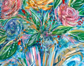 "Flower Burst- Original Resin Art - 20""x 20"" on Gallery Wrapped Canvas"