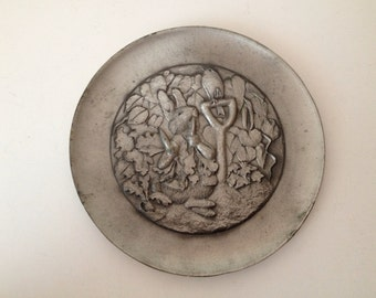 Schmid Beatrix Potter Plate, Tale of Peter Rabbit, Pewter Collector Plate, Numbered Plate 104, Tale On The Back, Adorable Gift Idea