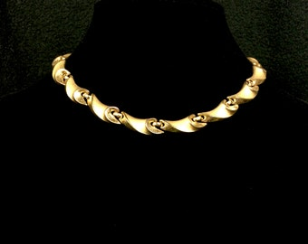 Vintage Trifari Gold Tone Necklace with a Crown T