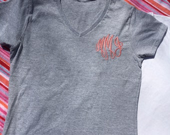 Womens Tight Fitted Monogram V-neck Tee