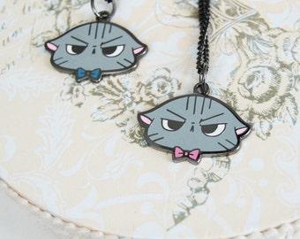 Angry Cat Metal Enamel Neckalce