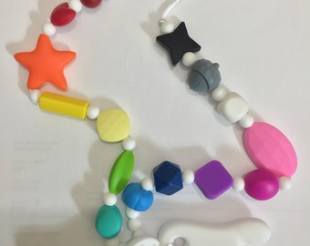 Sensory Necklace - Nursing Silicone Necklace - Nursing Necklace - Teething Necklace - Shapes and Colors - Silicone Shape and Color Toy