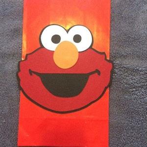 Elmo set of 12 Party Favor bags. Hand Made Elmo heads.