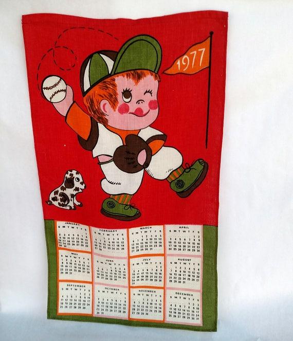 Vintage 1977 Linen Tea Towel Calendar with Cutesy Boy Playing Baseball