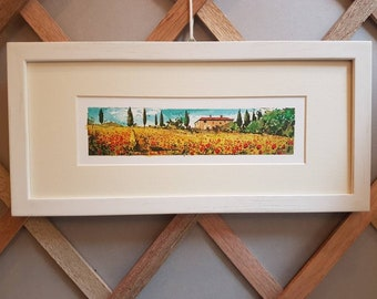 Tuscany poppies, tuscan landscape with frame