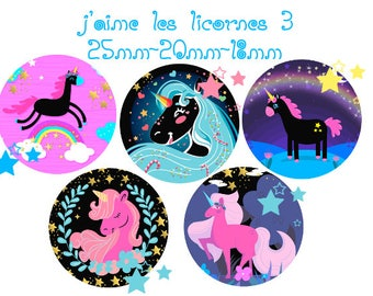 """Digital images - cabochon - jewelry - scrapbooking - collage """"I love unicorns 3"""" 25mm - 20 mm - 18 mm"""